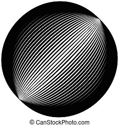 Lined circle element. Diagonal lines forming a circle.