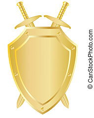 Two crossed swords behind the shield - Two vector crossed...