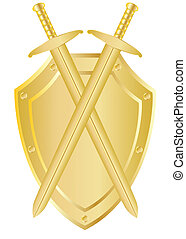 Two crossed swords on a shield