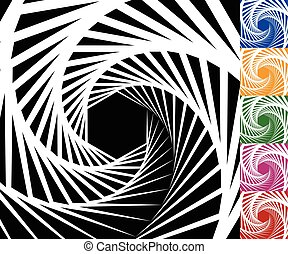 Abstract background set with concentric rotating lines -...