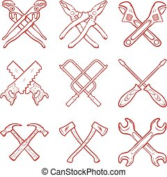 Crossed work tools vector