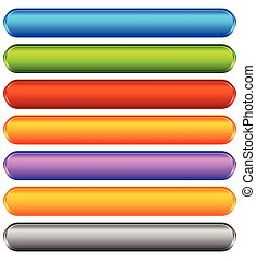 Horizontal colorful banner, button backgrounds. Set of vivid web or print buttons with blank space for your message.