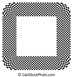 Rounded shape with checkered pattern fill Contrasty abstract...
