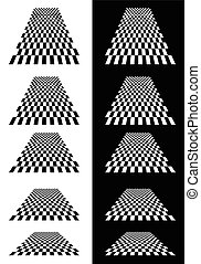 Set of checkered planes in perspective