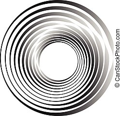 Concentric circles. Radiating, radial circles monochrome...