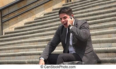 Happy Business Man Talking On Cell Phone