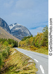Road in mountain - Road in Norway highland t fall time