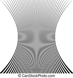 Lines with squeezed deformation effect Abstract monochrome...