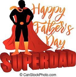 Happy Fathers Day Super Dad Color Illustration