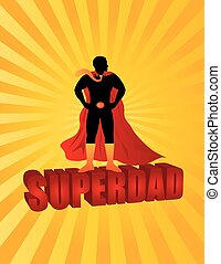 Happy Fathers Day Super Dad Sun Rays Illustration