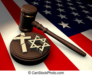 Church vs State - Judges gavel smashing religious symbols of...