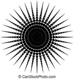 Abstract radiating motif, concentric monochrome element on...