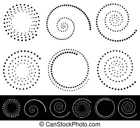 Spiral shapes Set of volute, snail decorative elements