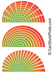 Radial elements with spectrum fill Set of 3 circular,...