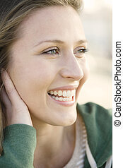 Young Woman - Profile of a Beautiful Young Woman Looking...