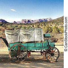 conestoga wagon - covered conestoga wagon in Arizona desert