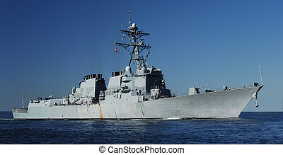 Naval Destroyer - US Navy DDG 51 AEGIS class Destroyer at...