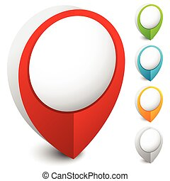 Map marker, map pin icon in 5 colors