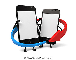 Cellphone - The two cellphones are interconnected
