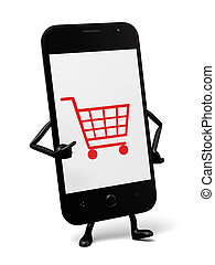 Cellphone - A smartphone and the online shopping logo