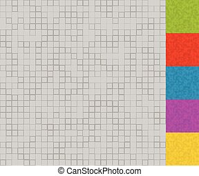 Set of mosaic patterns with random squares 5 colors +...