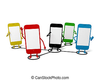 Cellphone - These cellphones are in a shared circle