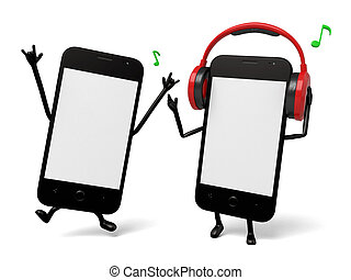 Cellphone - Two smartphones are listening to the music