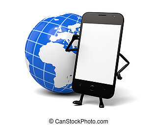 Cellphone - A smartphone and a globe