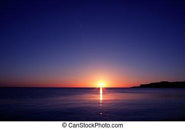 sunset on sea water ocean horizon