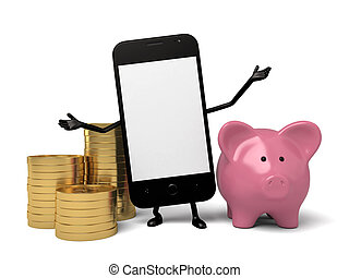 Cellphone - A smartphone and a piggy bank