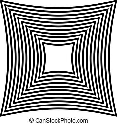 Abstract contrasty distorted shape with alternating black...