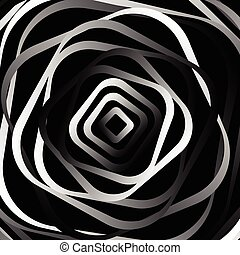 Rotating rounded corner squares Abstract monochrome graphic...