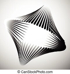 Abstract element with intersecting curved lines Grayscale...