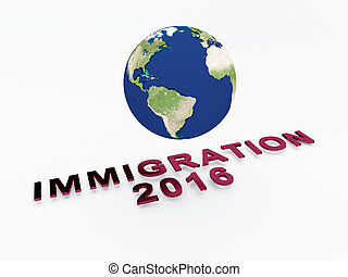 Immigration 2016 concept - 3D illustration of IMMIGRATION...