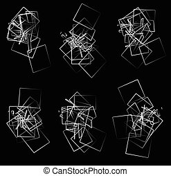 Random, scattered angular elements, shapes Set of 6 abstract...