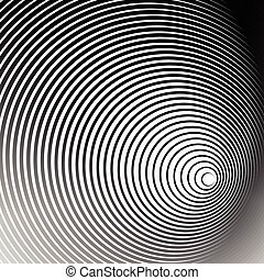 Concentric radial, radiating circles - Abstract monochrome...