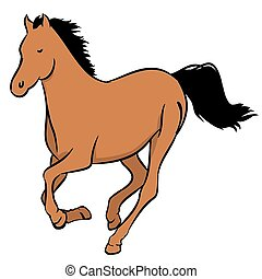 Brown horse - Illustration of a wild brown horse on a white...