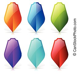 Glossy shields with reflection and shadow - Blank shield icon-shape in 6 color