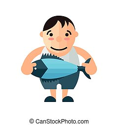 man and blue fish vector