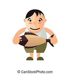man and brown fish vector