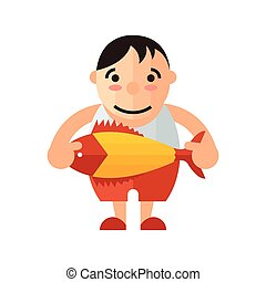 man and yellow fish vector