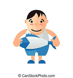 man and fish vector