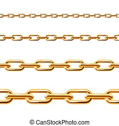 Chain Line Set. Vector - Realistic Golden Chain Line Set....