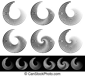 Spiral, vortex, whorl, swirl shapes Abstract elements