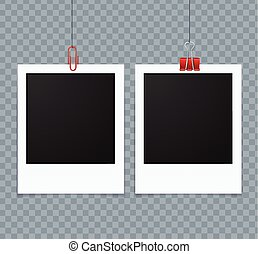Photo Frames Vector - Photo Frames Hanging on a Line Vector...