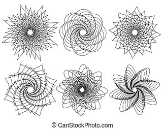 set of 6 spirally, rotating shapes. abstract geometric forms, elements.