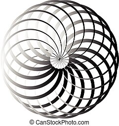 Grayscale abstract circular element - Circular element -...