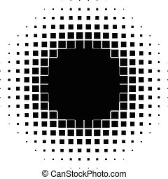 Halftone graphics with squares, monochromatic abstract...