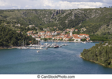 Skradin panorama - Skradin historical small town on river...