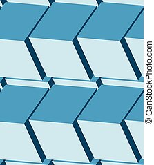 Cubes 3d seamless pattern Monochrome blue background